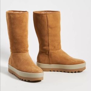 Anthropologie Vail Tall Suede Weather Boots Cougar